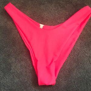 Neon pink cheekster bathing suit bottoms